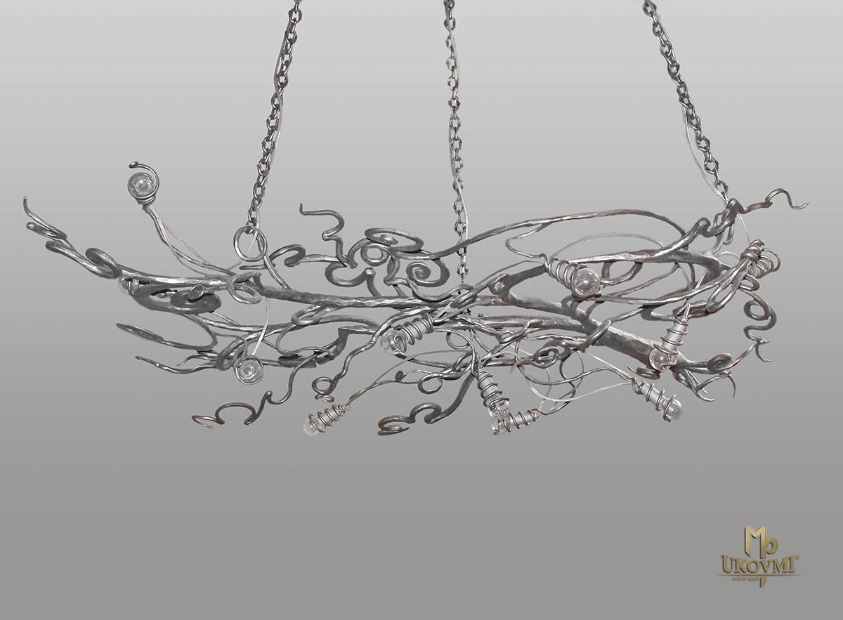 Hängeleuchte – geschmiedeter Kronleuchter WURZEL – kunstvolle Leuchte für den Innenbereich