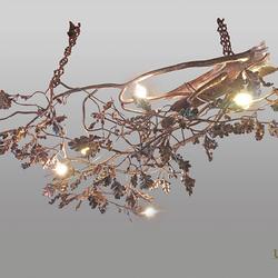 Hängeleuchte – schmiedeeiserner Kronleuchter EICHE – handgeschmiedete kunstvolle Leuchte für den Innenbereich