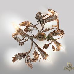 Hängeleuchte EICHE mit Eicheln mit Kupferpatina – auch für Pavillons geeignete Innenbeleuchtung